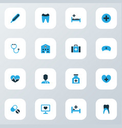 drug icons colored set with stethoscope heart vector image