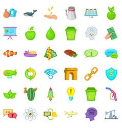 eco house icons set cartoon style vector image