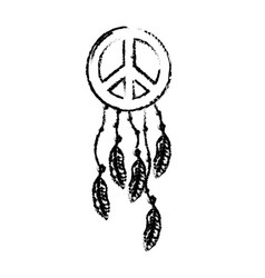figure hippie emblem symbol with feathers design vector image