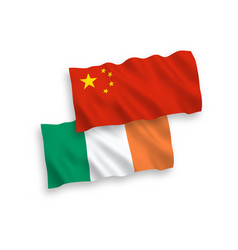 flags of ireland and china on a white background vector image