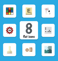 Flat icon entertainment set of jigsaw poker vector