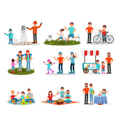 flat set of parents with kids in different vector image