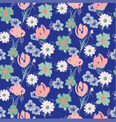 floral seamless blue pattern with wildflowers and vector image