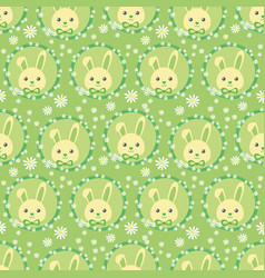 funny bunny in a wreath of flowers vector image