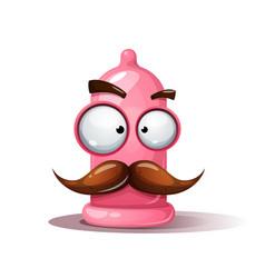 funny cute crazy condom mustache vector image