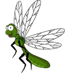 funny green dragonfly cartoon vector image