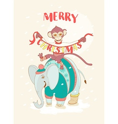 Funny Merry Christmas card with monkey riding an vector