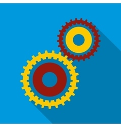 Gear wheels icon in flat style vector image