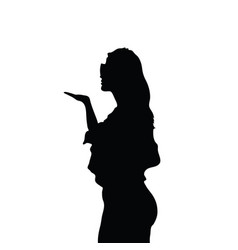 Girl silhouette posing with arm vector