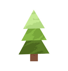 green spruce tree made simple triangles design vector image