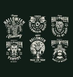 Halloween vintage spooky monochrome badges vector