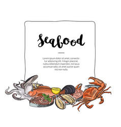 Hand drawn seafood elements vector