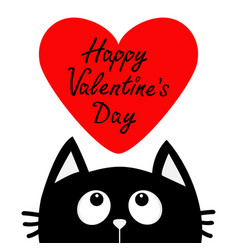 Happy valentines day text black cat looking up to vector