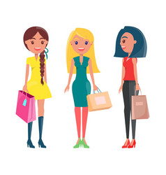 happy women on shopping adult girls with packets vector image