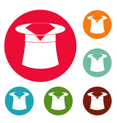 Hat with napkin icons circle set vector