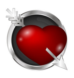 heart pierced by an arrow in a silver circle vector image
