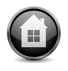 Home button black glass 3d icon with metal frame vector