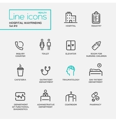 Hospital wayfindings - line design pictograms set vector