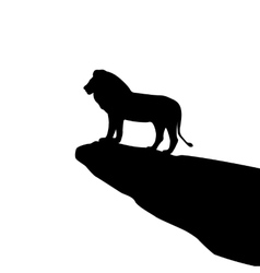 Isolated lion silhouette on the rock vector image