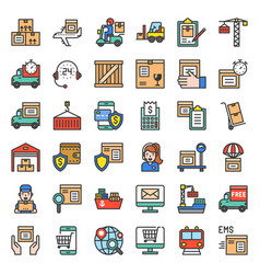Logistic and shipping business icon filled vector