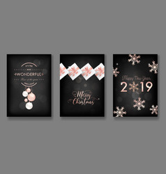 merry christmas cards with christmas balls 2019 vector image
