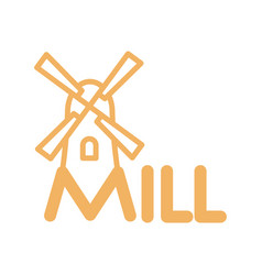 Mill line icon sign for production of bread and vector