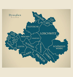 Modern city map - dresden city of germany with vector