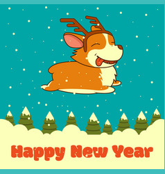 new year card with dog with deer horns on vector image