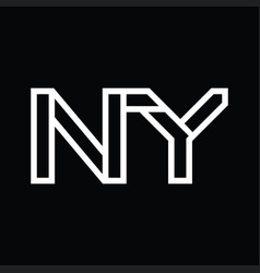 Ny logo monogram with line style negative space vector