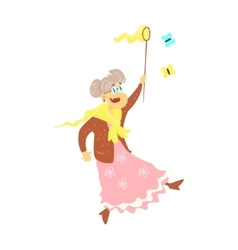 Old Lady Catching Butterflies vector