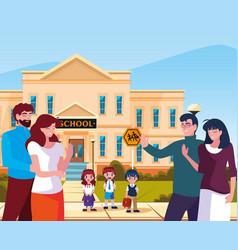 Parents goodbye children in front school building vector