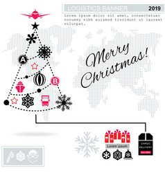 Pathway in the shape of christmas tree on white vector