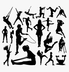 people sport activity silhouette vector image