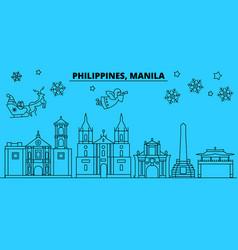 philippines manila winter holidays skyline merry vector image