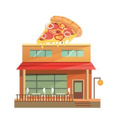 Pizza restaurant building isolated urban building vector