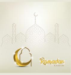 Ramadan kareem background with golden ornate vector