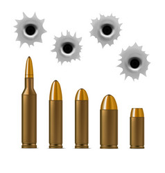 Realistic detailed 3d bullets and bullet holes set vector