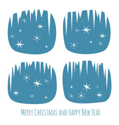 retro christmas card with window and snowflakes vector image