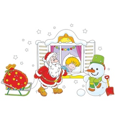 Santa with gifts vector