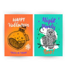 scary halloween flyer template vector image