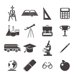 School Black Icon Set vector image