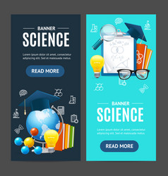 Science banner vecrtical set vector