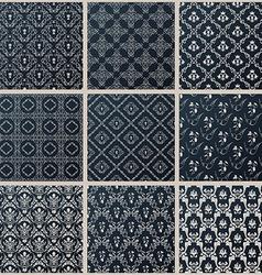 Seamless vintage backgrounds set black baroque vector