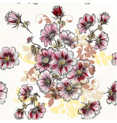 seamless wallpaper pattern with hand drawn cosmos vector image