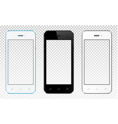 Set of modern smartphones with transparent screen vector