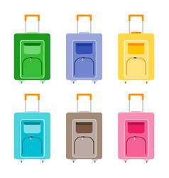 set of six multicolored wheeled travel bag vector image