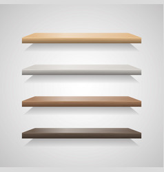 Set of wood shelves on grey background vector