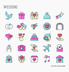 set wedding icons in line style for invitation vector image