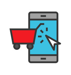 shopping on phone online shopping filled style vector image