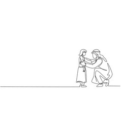 Single continuous line drawing young arabian vector